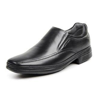 Sapato Social Masculino Couro Elástico Blaqueado Conforto