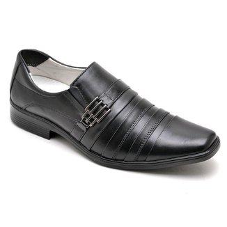 Sapato Social Masculino Couro Elástico Dobras Dia a Dia