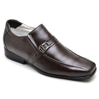 Sapato Social Masculino Couro Elástico Recortes Dia a Dia