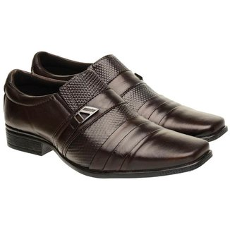 Sapato Social Masculino Couro Elástico Textura Conforto