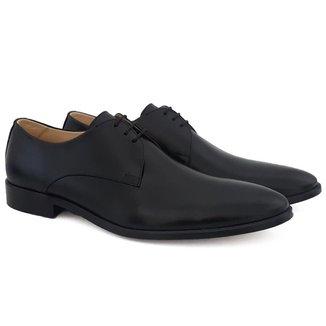 Sapato Social Masculino Couro Liso Bico Fino Conforto Macio