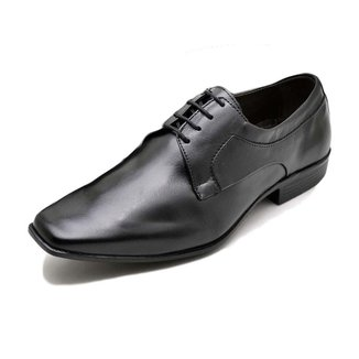 Sapato Social Masculino Couro Liso Bico Quadrado Com Cadarço
