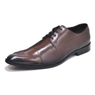 Sapato Social Masculino Couro Liso Bico Redondo Com Cadarço