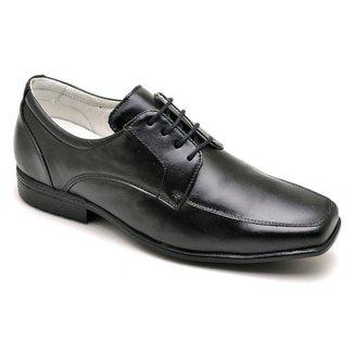 Sapato Social Masculino Couro Liso Cadarço Conforto Casual