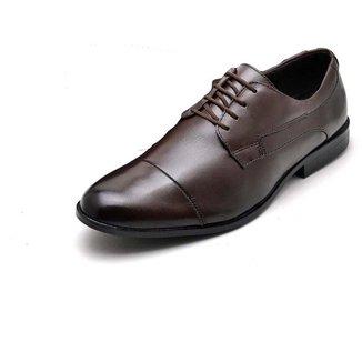 Sapato Social Masculino Couro Liso Com Cadarço Trabalho