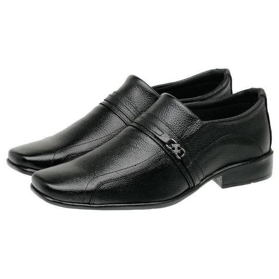 Sapato Social Masculino Couro Liso Confortável - Preto
