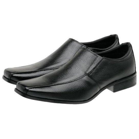 Sapato Social Masculino Couro Liso Conforto - Preto
