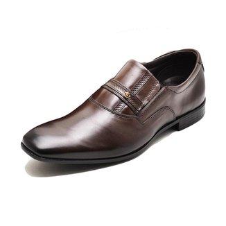 Sapato Social Masculino Couro Palmilha Macia Bico Quadrado