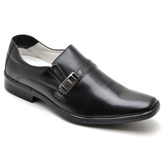 Sapato Social Masculino Couro Recortes Elástico Dia a Dia