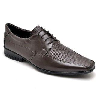 Sapato Social Masculino Couro Textura Tressê Cadarço Casual