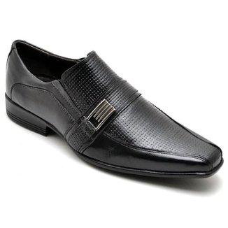Sapato Social Masculino Couro Textura Tressê Elástico Casual
