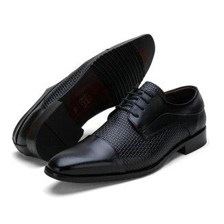 Sapato Social Masculino Couro Texturizado Palmilha Espumada