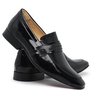 Sapato Social Masculino Couro Verniz Elástico Conforto Leve