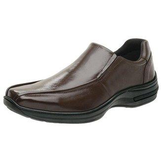 Sapato Social Masculino De Couro Comfort Antistress Cafe 5030