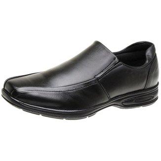 Sapato Social Masculino De Couro Comfort Antistress Preto 5030