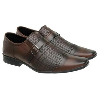 Sapato Social Masculino Elástico Fivela Textura Conforto