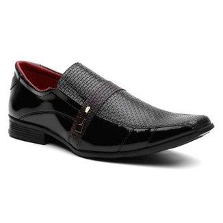 Sapato Social Masculino Elástico Verniz Conforto Moderno