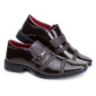 Sapato Social Masculino Elástico Verniz Textura Casual