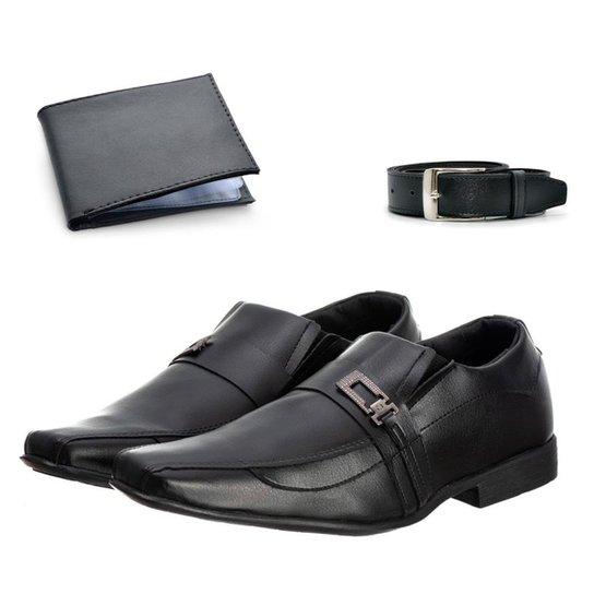 Sapato Social Masculino Elegante Leve + Cinto + Carteira - Preto
