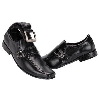 Sapato Social Masculino em Couro Com Cinto Leoppé