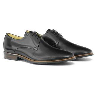 Sapato Social Masculino em Couro Liso Cadarço Sola Borracha