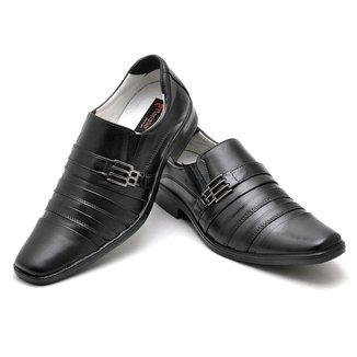 Sapato Social Masculino em Couro Preto 010 PRETO