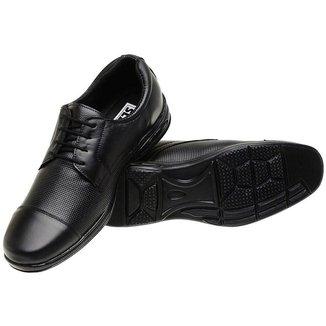 Sapato Social Masculino Em Couro Preto Ajuste Cadarco Lucilena Calcados