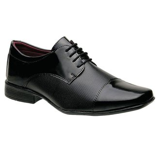 Sapato Social Masculino Em Verniz Com Cadarco Preto