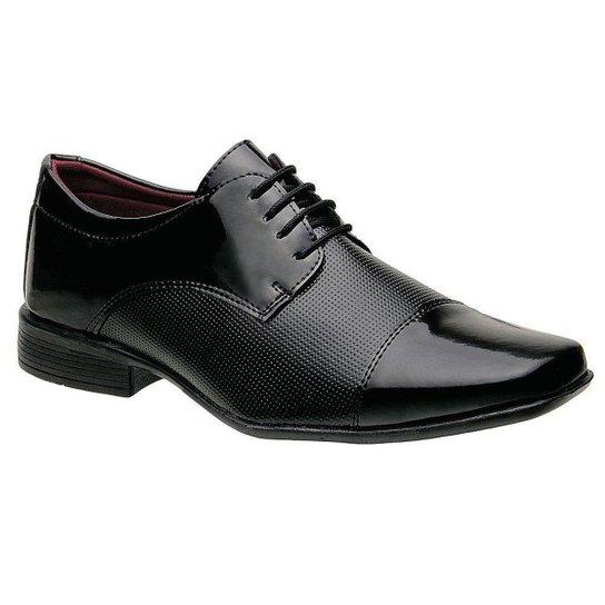 Sapato Social Masculino Em Verniz Com Cadarco Preto - Preto