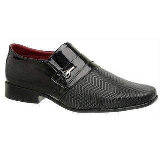 Sapato Social Masculino Em Verniz Estampa Sem Cadarco E Com Fivela Preto