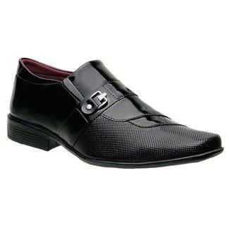 Sapato Social Masculino Em Verniz Tiras Curvas Sem Cadarco E Com Fivela Preto