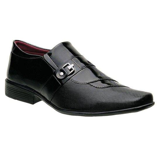 Sapato Social Masculino Em Verniz Tiras Curvas Sem Cadarco E Com Fivela Preto - Preto