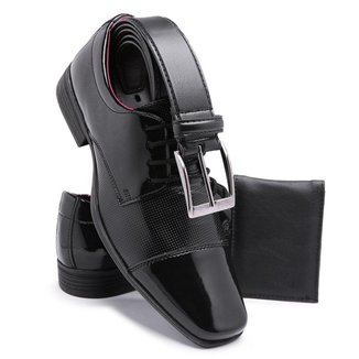 Sapato Social Masculino Envernizado Com Cinto e Carteira Schiarli 801 Pronta Entrega