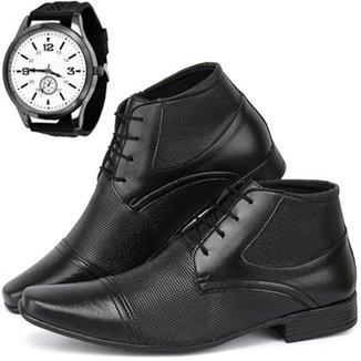 Sapato Social Masculino Hugo Olly + Relógio Esporte Fino