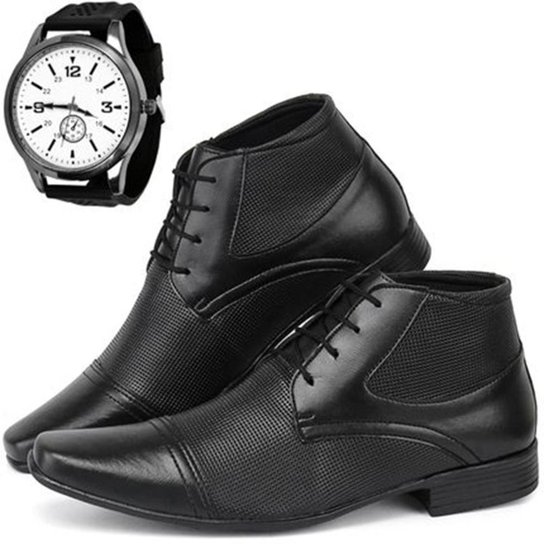 Sapato Social Masculino Hugo Olly + Relógio Esporte Fino - Preto