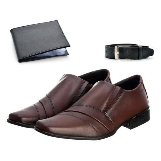 Sapato Social Masculino Leve + Cinto Versátil + Carteira - Marrom