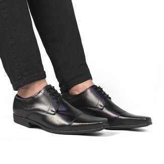 Sapato Social Masculino Liso Bico Quadrado Cadarço Conforto