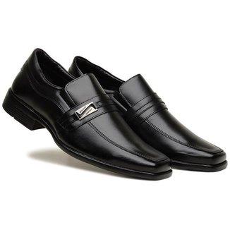 Sapato Social Masculino Liso Elástico Metal Leve Confortável