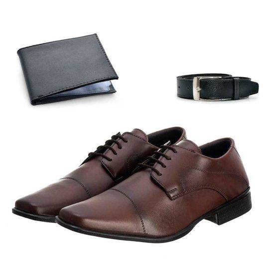Sapato Social Masculino Macio + Cinto Dia a Dia + Carteira - Marrom