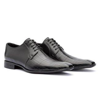 Sapato Social Masculino Oxford Laser Couro Preto 306