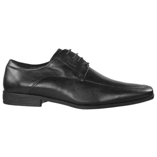 Sapato Social Masculino Plus Cadarços Couro Preto Ferracini - Preto