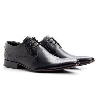 Sapato Social Masculino Preto Bico Fino De Amarrar Solado Em Couro