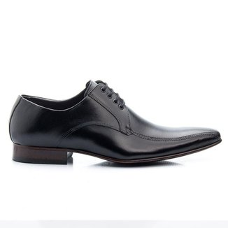 Sapato Social Masculino Preto Em Couro De Amarrar 300