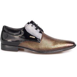 Sapato Social Masculino Rafarillo Couro Cobra Verniz