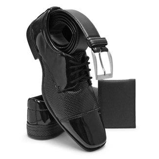 Sapato Social Masculino Schiareli 701 Em 4 Cores Kit Com Cinto e Carteira