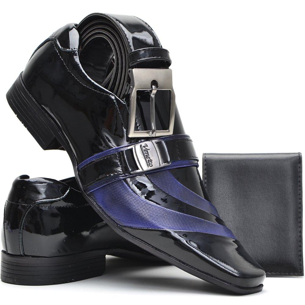 Venetto Social Sapato Azul Azul Sapato Sapato Verniz Venetto Social Verniz Preto Preto e Masculino e Masculino FdqAzAw