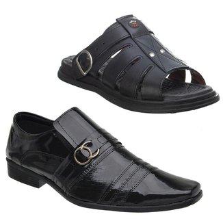 Sapato Social Masculino Verniz Conforto Macio + Sandália