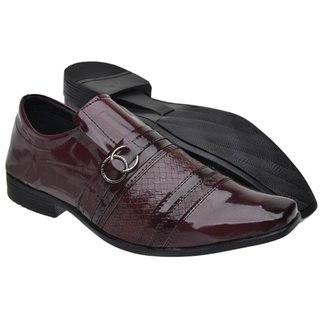Sapato Social Masculino Verniz Elástico Fivela Estilo Liso
