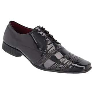 Sapato Social Masculino Verniz Liso Cadarço Conforto Moderno