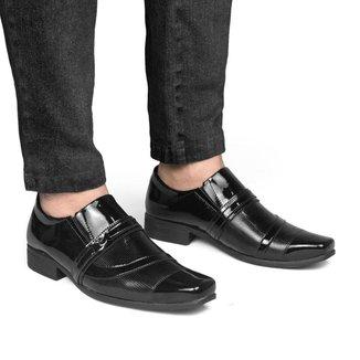 Sapato Social Masculino Verniz Perfuros Ajustável Quadrado